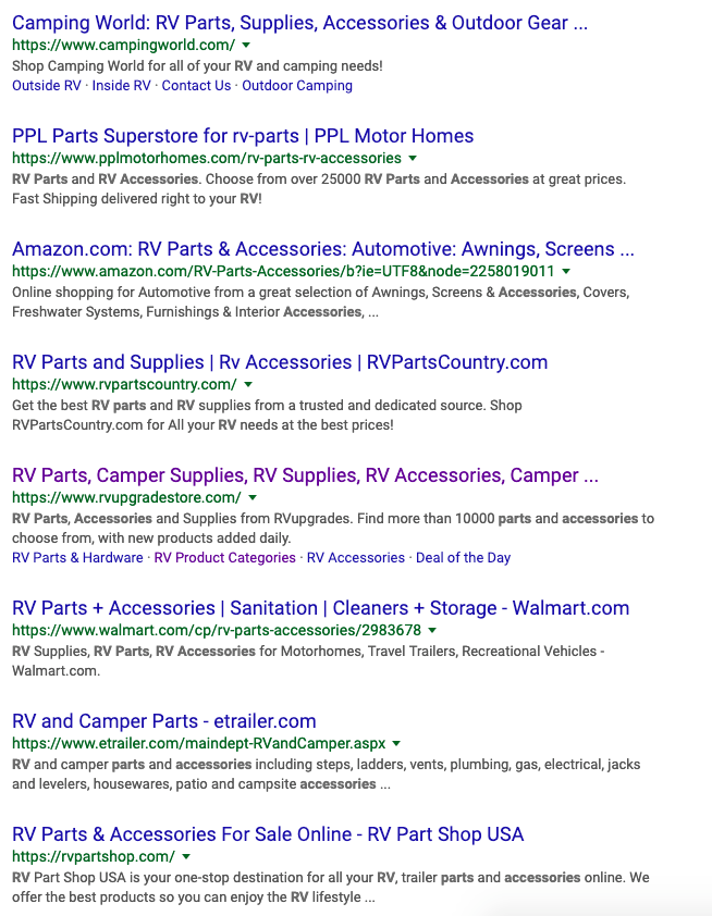 search engine ranking results